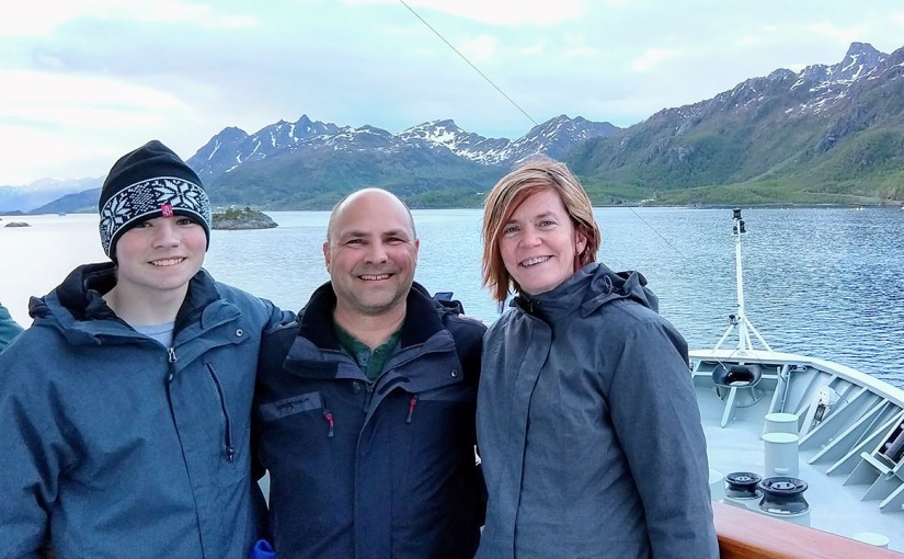 My family on a Hurtigruten Boat along Norway